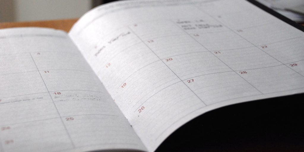 Photo of an opened calendar