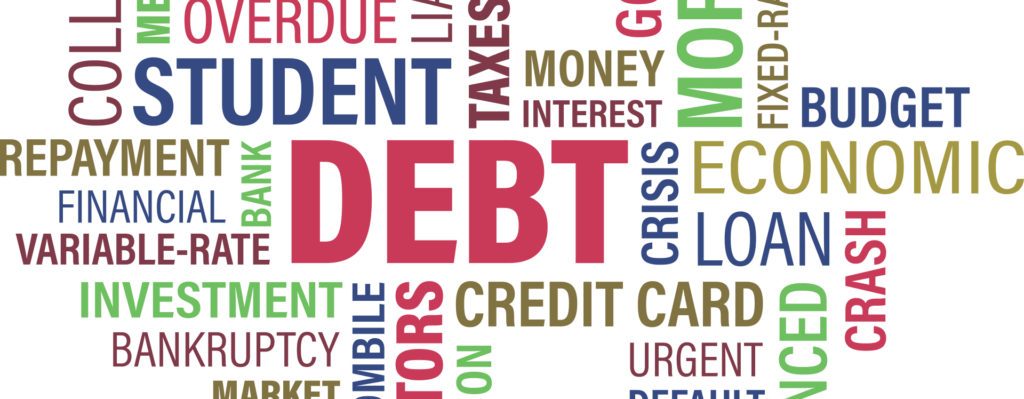A word cloud about Debt and related terms